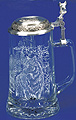 Glass Beer Stein with Pewter Lid - Timber Wolf, 7-1/4H