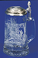 Glass Beer Stein with Pewter Lid - White Tail Deer, 7-1/4 H