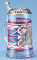 Glass Beer Stein - Souvenir of England, 7-1/4H