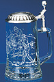 Glass Beer Stein with Pewter Lid - Golfer, 7-1/4H