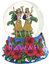 Hawaii Water Globe of Musical Dancing Hula Girls, 5.5H