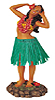 Hawaiian Dashboard Hula Doll Longing - Green Skirt, 7H