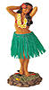Hawaiian Sweet Leilani Dashboard Hula Doll - Green Skirt, 7 H