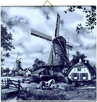 Dutch Tile Delft Blue Windmill With Ponies