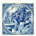 Steenhouwer / Stone Cutter, Dutch Delft Tile 6