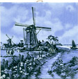 Dutch Tile, Windmill with Cow