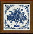 Tile with Frame, Delft Blue Fruit Platter with Fancy Border, 7.5