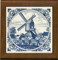 Tile with Frame, Delft Blue Windmill Scene with Fancy Border, 7.5