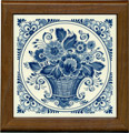 Tile with Frame, Delft Blue Flower Basket, 7.5