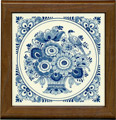 Tile with Frame, Delft Blue Flower with Bird, 7.5