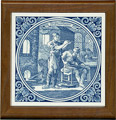 Tile with Frame, Delft Blue Glasblaazer / Glass Blower, 7.5