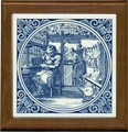 Tile with Frame, Delft Blue Boeckbinder / Bookbinder, 7.5