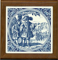 Tile with Frame, Delft Blue Krygsman / Warrior, 7.5