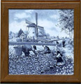 Tile with Frame, Delft Blue Tulip Pickers, 7.5