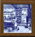 Tile with Frame, Delft Blue Cheesemaker, 7.5