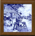 Tile with Frame, Delft Blue Clogmaker, 7.5