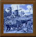 Tile with Frame, Delft Blue Milkman, 7.5