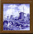 Tile with Frame, Delft Blue Three Windmills, 7.5