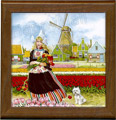 Tile Trivet, Delft Blue Tulip Girl, 7.5