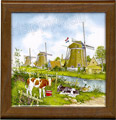 Tile Trivet, Delft Blue Windmills, 7.5