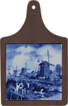 Cheeseboard w/ Delft-Blue Tile - Three Windmills with Calves