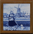 Tile with Frame, Delft Blue Tulip Girl, 7.5