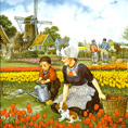 Dutch Tile, Color Tulip Picker with Child, 6