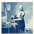 The Milkmaid, Dutch Delft Tile 6