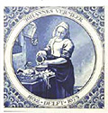 The Milkmaid, in a Circle, Dutch Delft Tile 6
