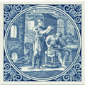 Glasblaazer / Glass Blower, Dutch Delft Tile 6