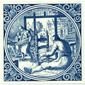 Stoelemaaker / Chairmaker, Dutch Delft Tile 6