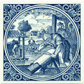 Leerbereider / Leather Tanner, Dutch Delft Tile 6