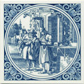 Brillemaaker / Optician, Dutch Delft Tile 6