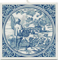 Visser / Fisherman, Dutch Delft Tile 6