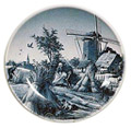 Delft Blue Decorative Plate - Four Seasons/Fall, 9.5D