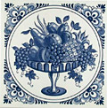Dutch Tile, Fruit Platter with Fancy Border, 6