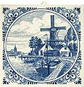 Delft Blue Tile - Dutch Windmill and Sailboat, 6