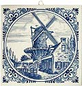 Delft Blue Tile - Large Windmill & Village House, 6