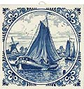 Delft Blue Tile, Windmill Scene with Fancy Border, 6