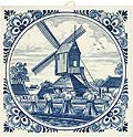 Delft Blue Tile - Dutch Harvest Landscape with a Windmill, 6
