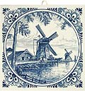 Delft Blue Tile - Dutch Windmill Scene with Drain Mills along the Bank, 6