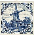 Delft Blue Tile - Dutch Windmill Scene with Large Windmill, 6
