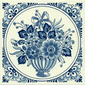 Flower with Bow, Dutch Delft Tile 6