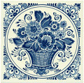Flower Basket, Dutch Delft Tile 6