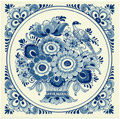 Flower with Bird, Dutch Delft Tile 6
