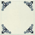 Field Tile, Plain with Corner Design, Dutch Delft Tile 6