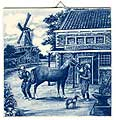 Dutch Tile, Antique Delft Blue Blacksmith