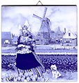 Dutch Tile, Delft Blue Tulip Girl