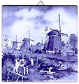 Dutch Tile, Delft Blue Three Windmills