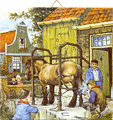 Dutch Tile, Color Blacksmith & Children